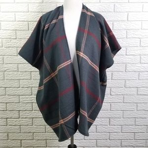 LOFT Accessories - Ann Taylor LOFT Plaid Poncho Wrap Teal Blue